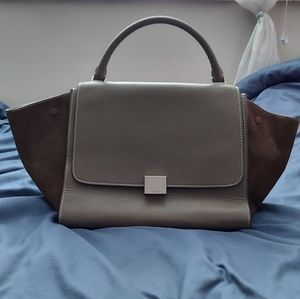 CÉLINE olive green leather and suede bag
